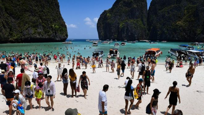 The scene at Maya Bay